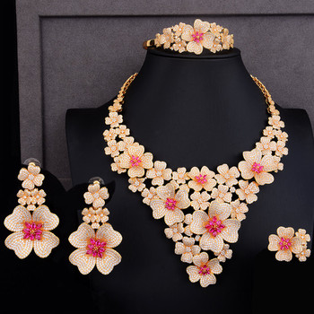 GODKI Luxury Super Big Blossom Flower 4PCS African Jewelry Sets For Women Wedding Zircon CZ Nigeria Dubai Gold jewelry SetS 2019 4