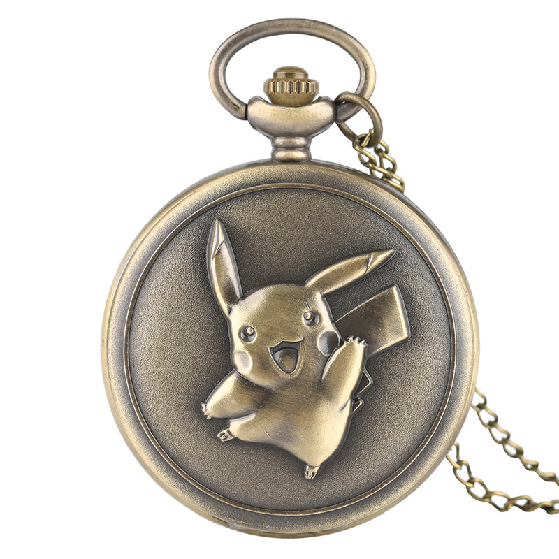 Antique Pocket Watch Cute Pokemon Design Pikachu Bronze Quartz Fob Watches Boy Girl Chic Pendant Gift With Necklace Chian