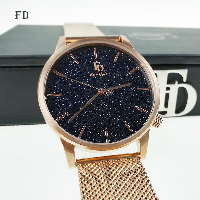 Prix pour FD De Luxe Marque Hommes D'affaires Montre-Bracelet Casual Acier Inoxydable Bande Motif Étoilé Quartz Montre 2017 Vente Chaude Relogio masculino