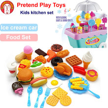 Girls Toys Miniature Kkitchen Pretend Play Set Cooking Game Mini Food Ice Cream Cart Educational Toys For Children Gift