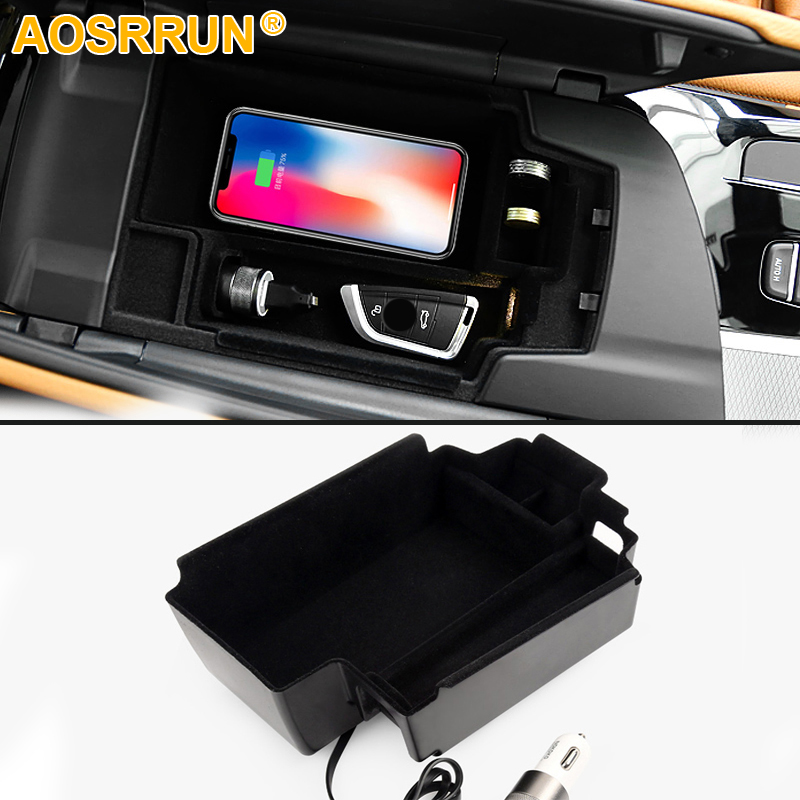Mobile phone wireless charging in the middle of the store content box Car Accessories For BMW G30 G31 528 520 530 2017 2018 LHD the store