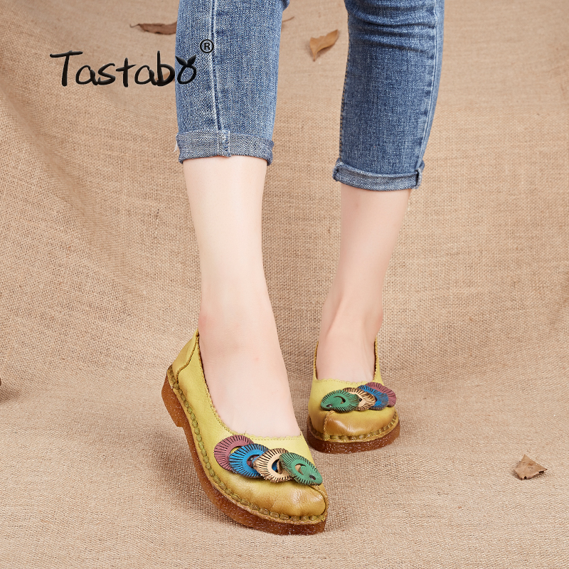 Tastabo Shoes Women Genuine Leather Flats Retro Handmade Shoes Spring Female Driving Shoe Fashion Casual Soft Mother Loafers sexemara new original handmade women genuine leather shoes lace soft cowhide loafers real skin ladies shoes driving female shoes