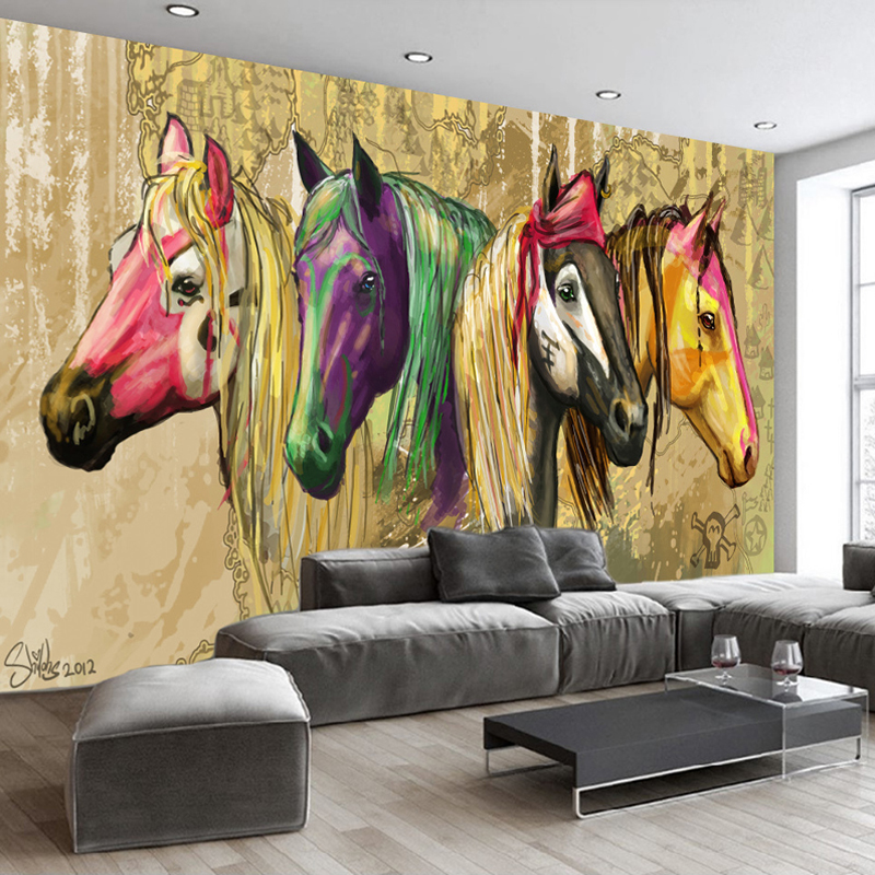High Quality Custom Wall Mural Wallpaper Home Decor Retro 3D Hand Painted Abstract Horse Oil Painting Wall Paper For Living Room