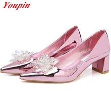 Patent Leather 2016 Latest Fashion Pointed Toe Thick with Shallow mouth Rhinestone Rose Gold Hot New