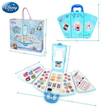 Disney With light  Pretend Play Beauty Fashion Toys frozen Princess Baby Suits Childrens Makeup Girl Cosmetics