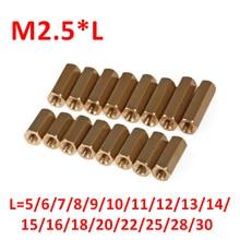 M2.5 Hex Schraube M2.5 Gewinde Weibliche Hexagonal Messing PCB Abstandsbolzen Spacer Schrauben M2.5 * 5/6/8/ 9/10/11/12/13/14/15/16/18/20/ 22/25/30mm