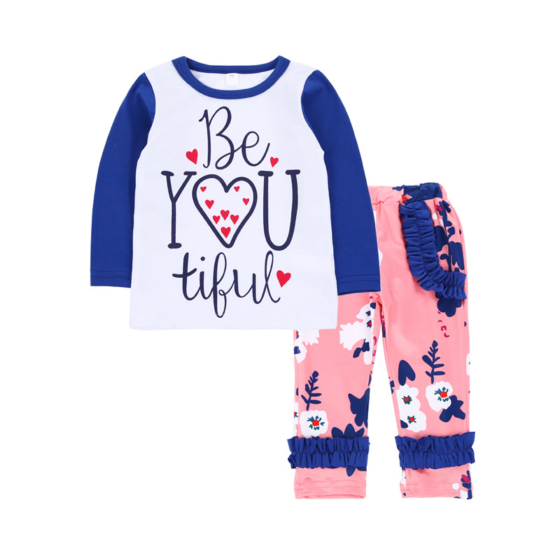 girl spring Long Sleeve shirt top + pants 2pcs outfit sets clothing set suit 4sets/lot