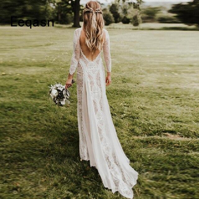 الوهم بوهو فساتين الزفاف 2020 حورية البحر شيك كم طويل رائعة الدانتيل فستان عروس فستان زفاف vestido de noiva