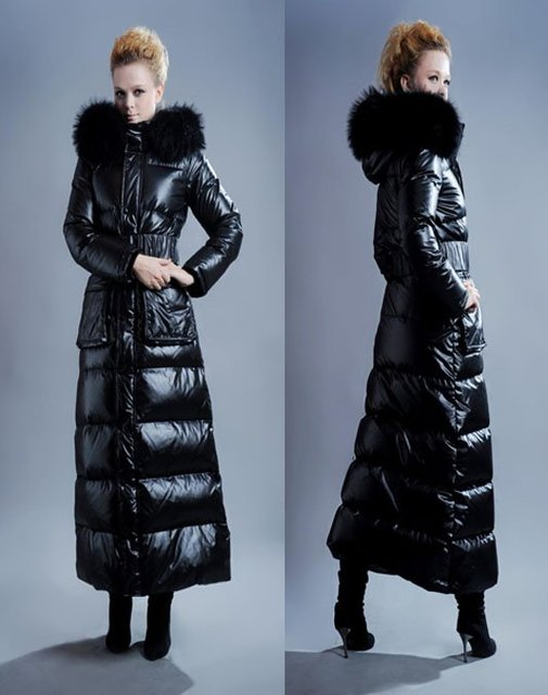 Fashion Women Down Filled Coat With Real Fur Collar, ladies Trench ...