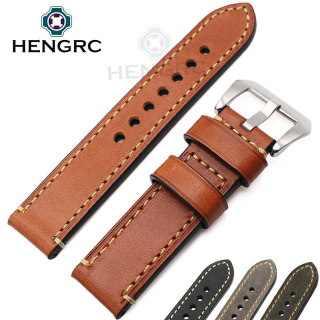Genuine Leather Watchband Bracelet 24mm 22mm 20mm Thick Watch Strap Belt With Metal Steel Buckle Clasp Accessories For Panerai