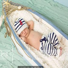 Sailor Design Baby Photo props Knitted Crochet Toddler Infant Photography Shoots 0 - 6 M Baby shower Gifts