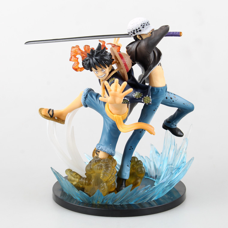 Huong Anime One Piece 17CM Luffy VS Trafalgar Law 5th Anniversary PVC Action Figure Brinquedos Collectible Model Toys 19cm pvc japanese anime figure one piece luffy gear 4 ape king gun action figure collectible model toys brinquedos
