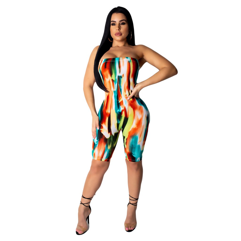 Off Shoulder Strapless Colorful Printed Jumpsuit Women Sexy Backless Club Party Playsuit Skinny Overalls