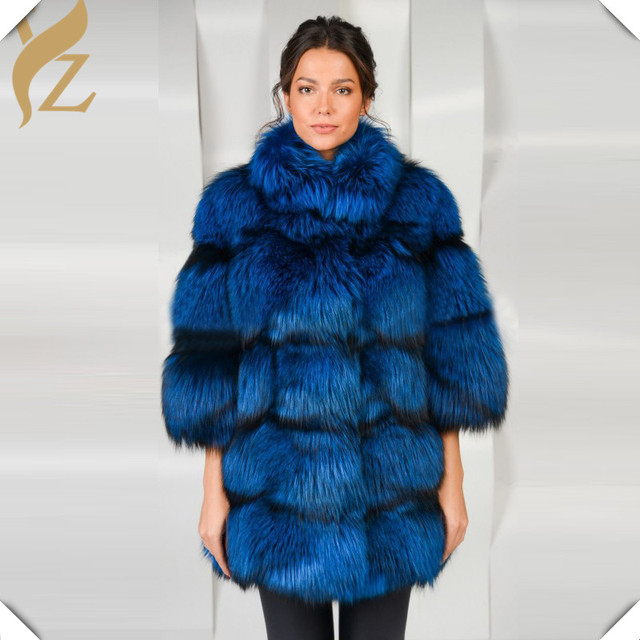 8352e51bc Luxury Dress Whole Skin Real Silver Fox Fur Coat Dyed Blue Color Stand  Collar Warm Winter Thick Fashion Fox Fur Coats Overcoat