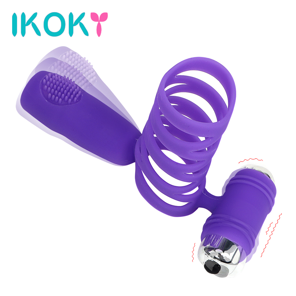 IKOKY Penis Rings Delay Rings For Male Sex Products For Men Cock Rings Silicone Tongue Ring Vibration Clitoris stimulator 7