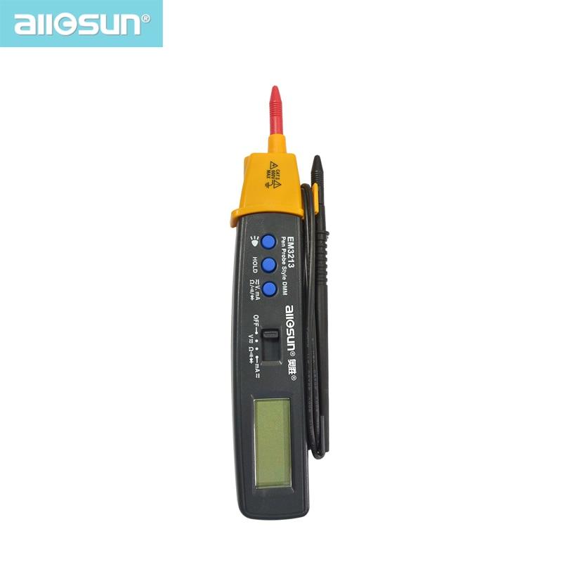 AutoRange Pen Style Digital Multimeter DMM AC DC Volt Amp Ohm Integrated Automotive Tester Resistance Continuity ALL SUN EM3213