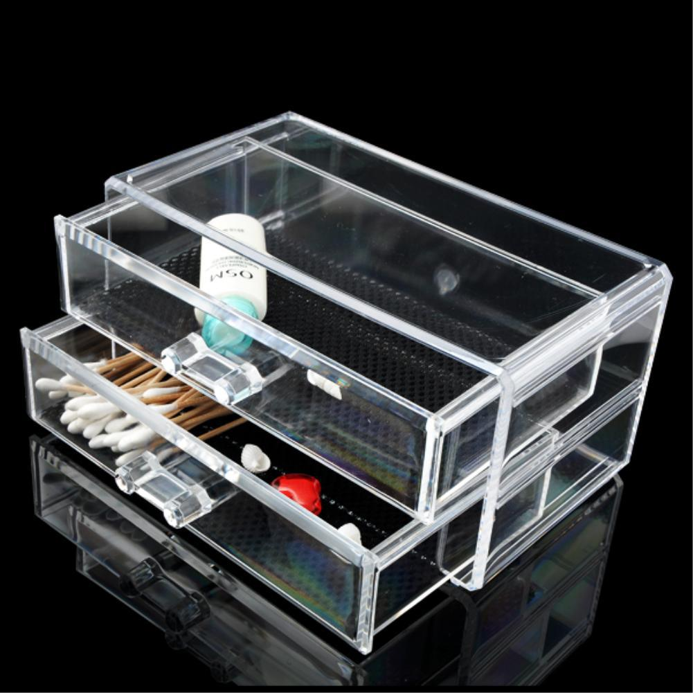 WITUSE WX Acrylic Makeup Organizer Clear Makeup Display Jewellery Organizer Storage Acrylic Cosmetic 2 Drawer Stand