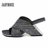 Jady Rose Designer Women Slippers Strange Heel Sandals Summer High Heel Slipper Gladiator Sandal Wedge Shoes