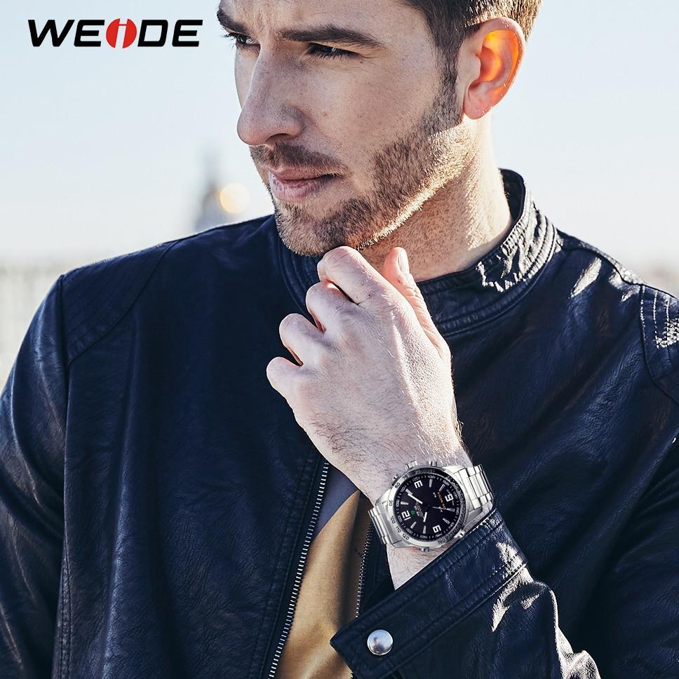 цена на WEIDE Men's Sports Watches LED Digital Quartz Business Black Dial Wristwatch Waterproof Clock Box Packed Relogio Masculino 2018