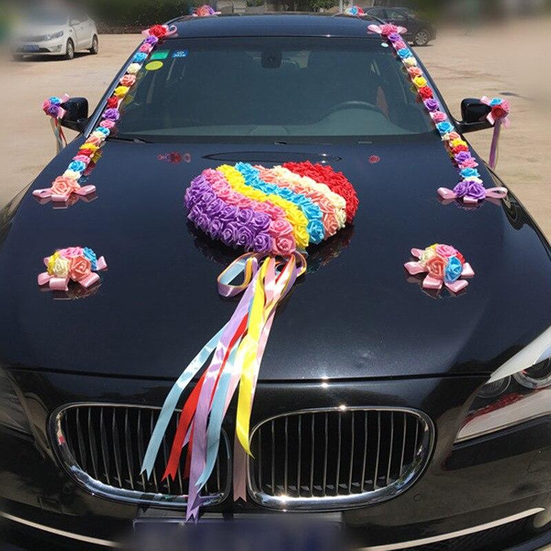 Arc-en-ciel mariage voiture décoration ensembles fleurs artificielles mariage Docoration mousse Roses décoratif couronne bricolage en gros - 2