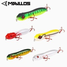 Mavllos Popper Pencil Fishing Bait 15g 100mm Snake Head Action Floating Top Water Freshwater Lure 3D Simulation Eye