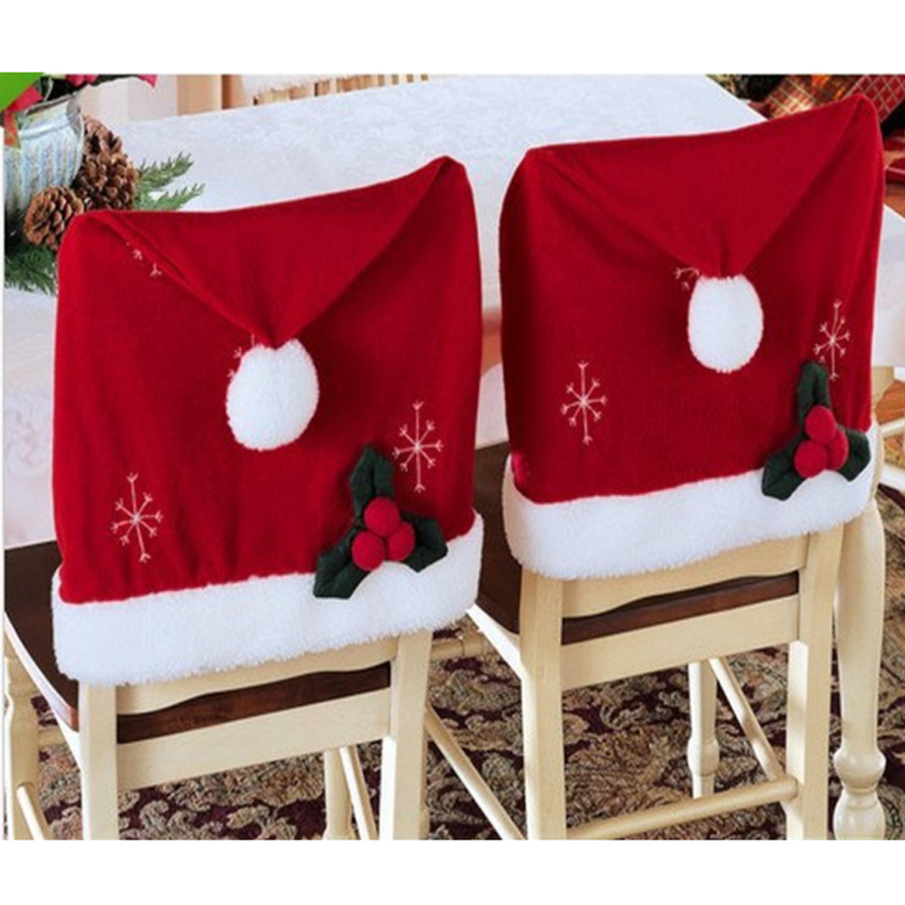 2 Pcs/ Lot High Quality Flannel christmas chair cover santa claus decoration Xmas New Year Home Party decor washable natale noel