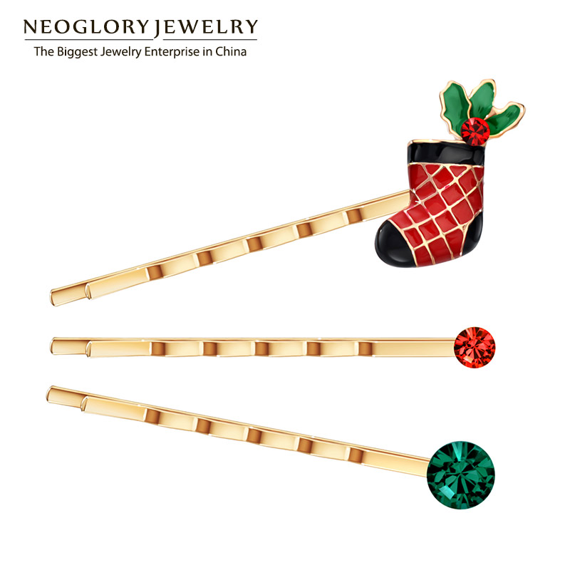Neoglory Czech Rhinestone Shose Hairwear for Women Rose Gold Color Jewelry Charm 2018 Fashion Party Gift XMAS W1 SQC ...