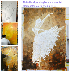 Image 5 - Mintura Ballet Dancer Picture Hand Painted Abstract Palette Knife  Oil Paintings On Canvas  Wall Art For Living Room  Home Decor