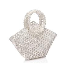 купить Handmade Woven Pearl bags for women handbags Beaded Pocket Women Evening Clutch Phone Crossbody Shoulder Bag female Purse 2019 по цене 587.48 рублей
