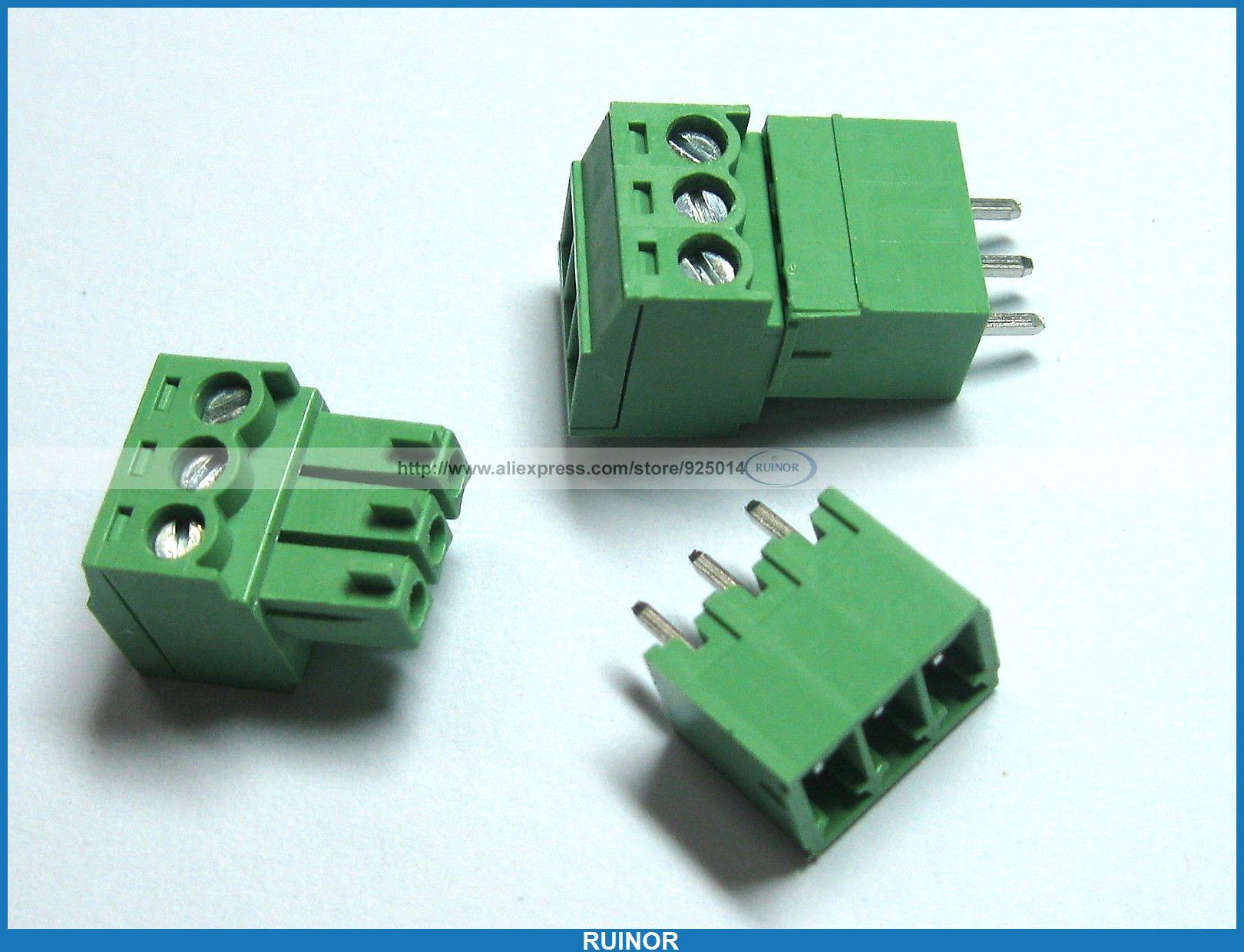150 Pcs Screw Terminal Block Connector 3.5mm 3 Pin Way Green Pluggable Type 30 pcs screw terminal block connector 3 81mm 12 pin green pluggable type