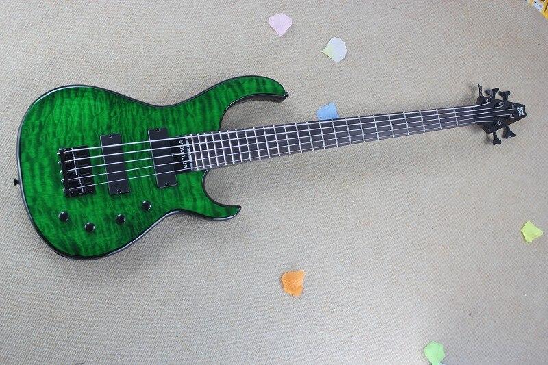 Высокое Качество МОДУЛЬ 5 Струны бас с Активными Датчиками зеленая Вода Пульсации Бас-Гитара На Складе-7-17
