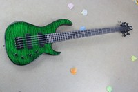 High Quality MODULUS 5 Strings Bass With Active Pickups Green Water Ripple Bass Guitar In Stock