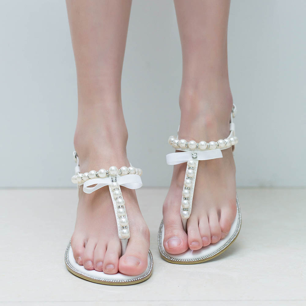 White wedding flat sandals bridal pearl shoes women flip flops white wedding flat sandals bridal pearl shoes women flip flops diamond rhinestone pu leather beach beaded sandle brand shesole in womens sandals from shoes junglespirit Image collections