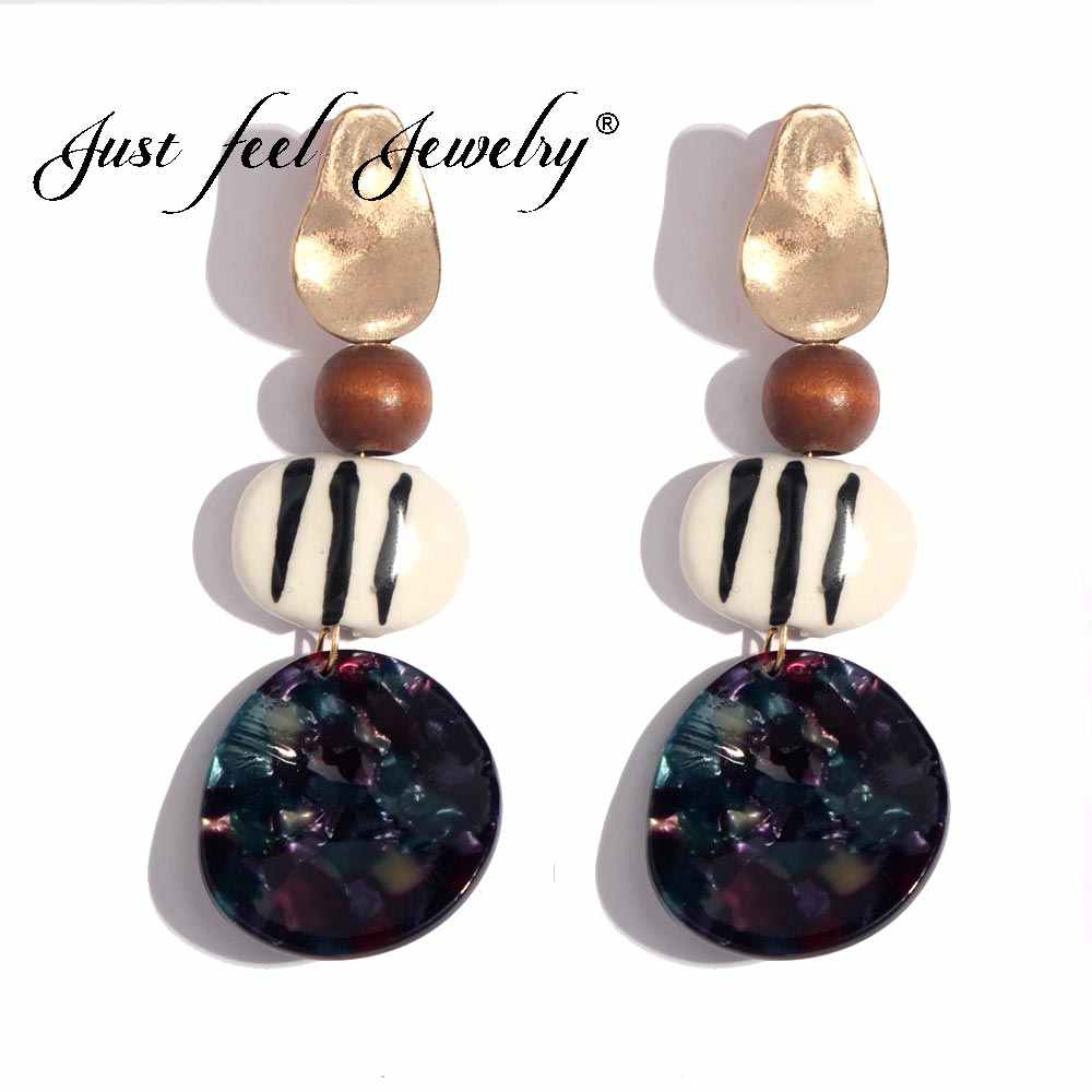 JUST FEEL 2018 New Earrings Acrylic Wood Long Hanging Earrings Ethnic Fashion For Women Fashion Za Dangle Drop Earings Brincos