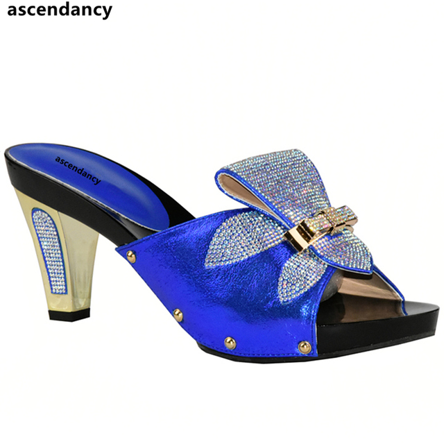 Blue Color Elegant Rhinestone Wedding Shoes Italian Women Sandals Shoe For  Party African Wedding Low Heels