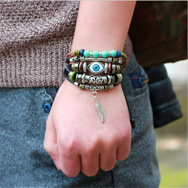 Punk Style Leather Bracelet Ethnic Multilayer Black Adjule Wrap Evil Eye Feather Charm Fine Turkish