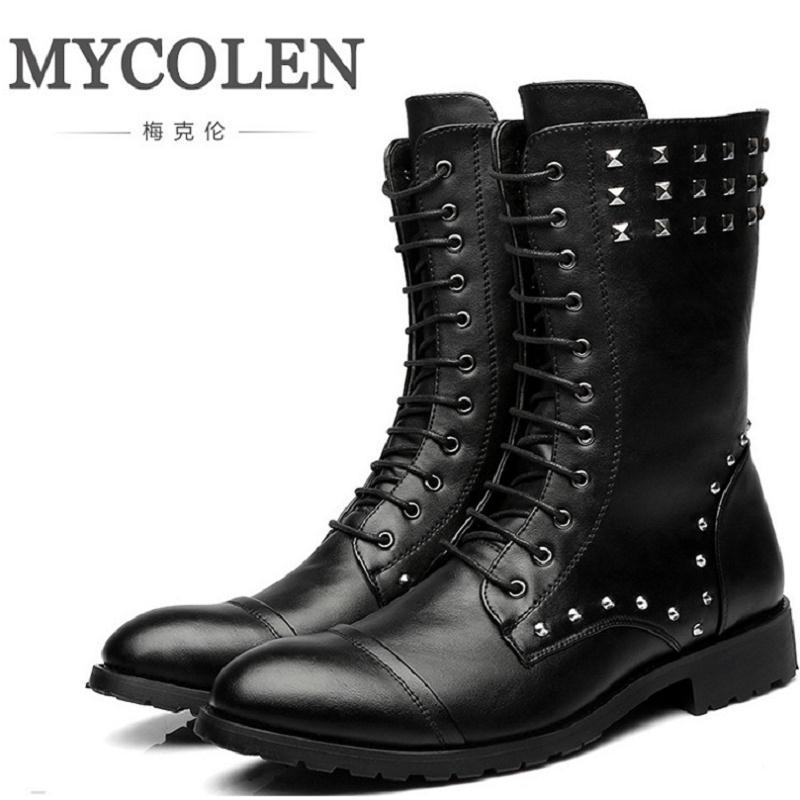 все цены на MYCOLEN Trend Martin Boots Men High Military Combat Boots Metal Rivet Punk Male Motorcycle Boots Lace Up Men's Shoes Rock