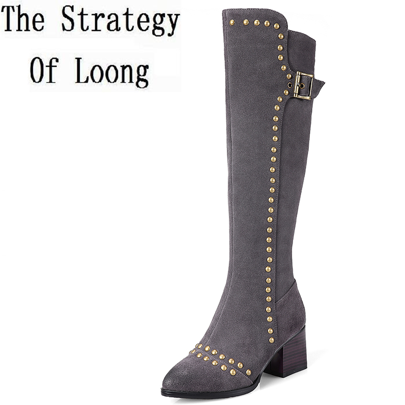 Women Winter Retro Thick Mid Heel Buckle Rivets Genuine Leather Flock Fashion Knee High Boots Size 33-41 SXQ1013 women winter genuine leather low heel rivets pointed toe side zipper fashion over the knee boots plus size 33 43 sxq1013