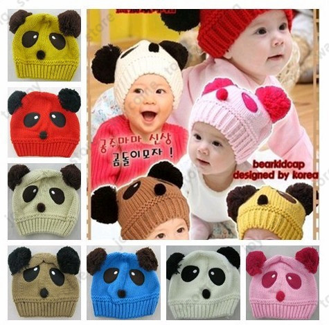 8 colors High Quality  New Kids Baby Hat,5pcs/lot, Panda Dual Ball Girls/Boys Beanie Cap Warm Winter Infant Toddler Hat