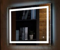 Wall Mount Led Lighted Bathroom Mirror Vanity Defogger Square Lights Touch Light Mirror Bath Mirrors Frameless Mirrors