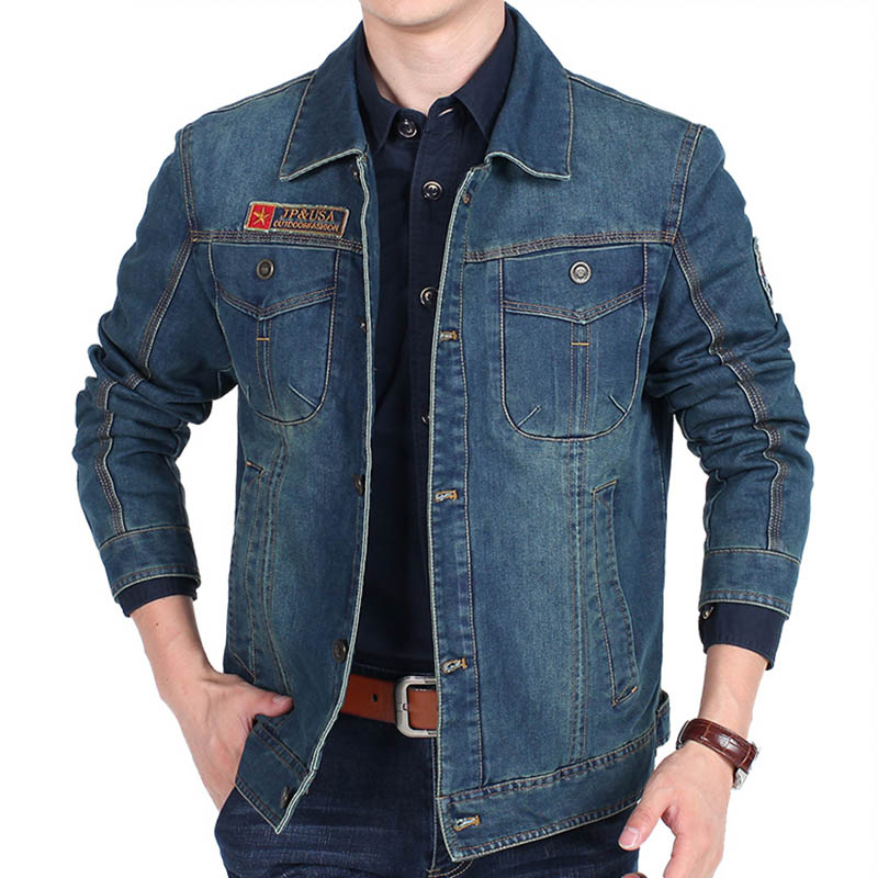 2017 New Spring Autumn Denim Jacket Men Turn-Down Collar Fashion Slim Outerwear Jaquetas Masculino Jeans Jacket Plus size 3XL m 3xl hot 2018 spring men s new fashion conventional models slim collar pu leather jacket