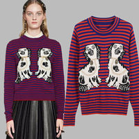 Designer Runway Harajuku Casual Striped Embroidery Dog Jacquard Wool Blended Sweater Knitwear Jumper Women Autumn Top Pullovers