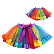 Girls Kids Tutu Skirt Tulle Dance Ballet Wear Toddler Rainbow Bow Skirt Costume L07 456 недорого