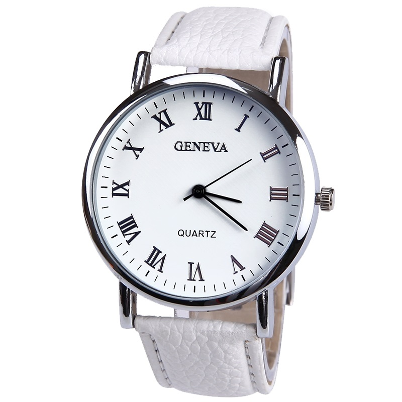 все цены на New Elegant Fashion Watch Women Small Roman Numbers Quartz Men Business wristwatch White Face Student watch Geneva Style