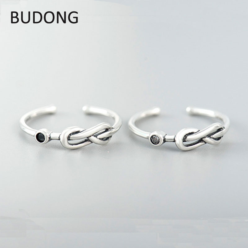 BUDONG Vintage Infinity Twisted Knot Open Rings for Ladies Women Genuine 925 Sterling Silver Adjustable Finger Ring LHRT0216