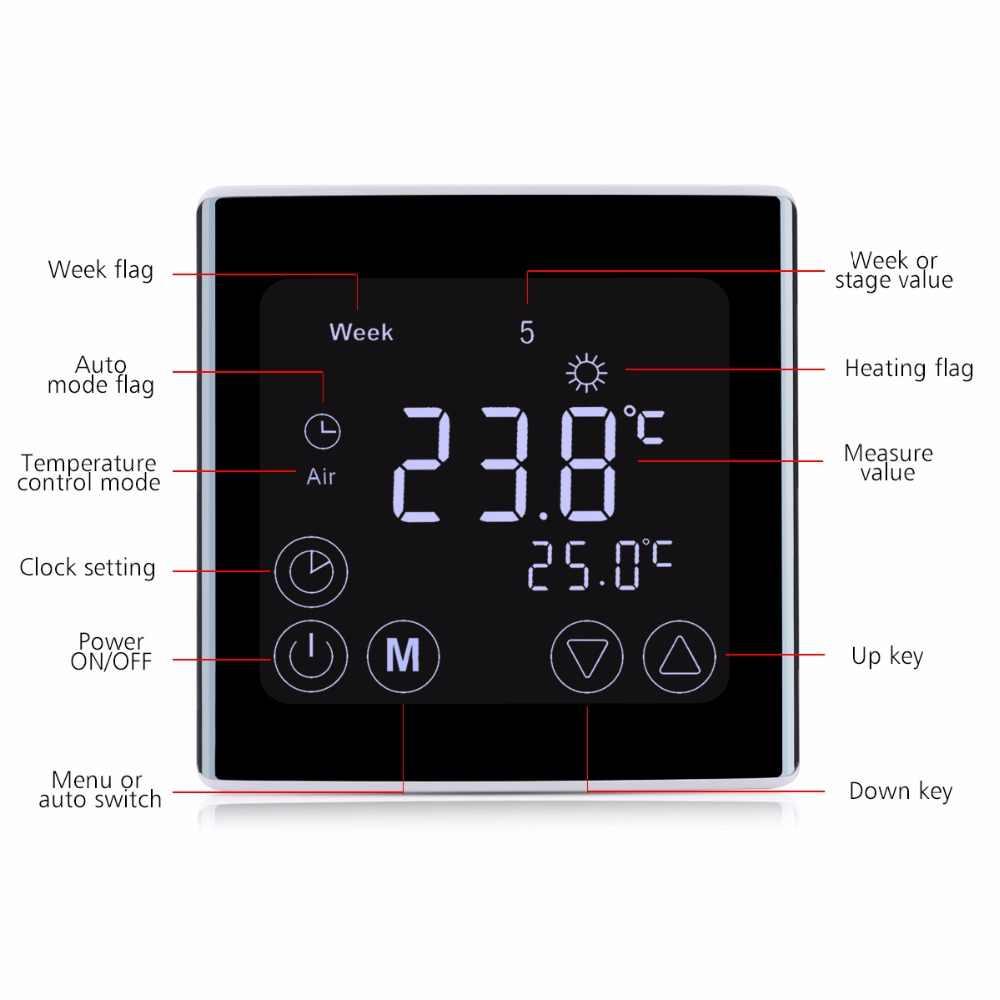 أسبوعي قابل للبرمجة ثرموستات تدفئة تحت البلاط LCD شاشة تعمل باللمس غرفة متحكم في درجة الحرارة ترموستات الأبيض الخلفية