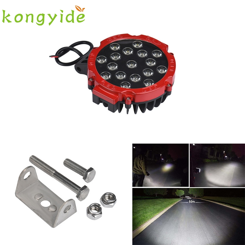 car-styling 51W 7Inches Red Spot Round Led Work Light Off Road Fog For SUV Boat Jeep Lamp fe22 варочная панель hotpoint ariston 642 dd ha black