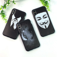 Carcasa negra para iPhone X 8, 7, 6, 6S Plus, para Apple iPhone XS Max XR 5S SE caso suave TPU de Coque(China)
