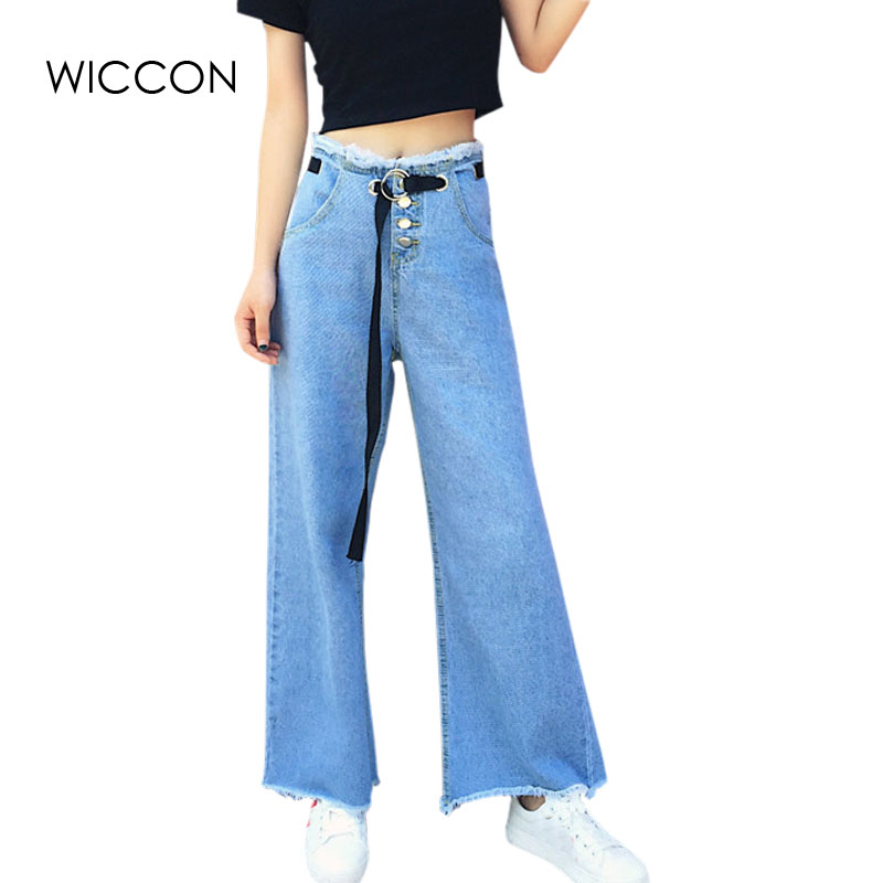 Women's Clothing Hot Sale 2019 New Retro High Waist Wide Leg Jeans Women Spring Fashion Pockets Burr Denim Pants Casual Loose Trousers