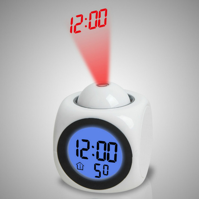 Multifunctional Projection Alarm Clock Wall Ceiling Projection LCD Digital  Voice Talking With Temperature Display